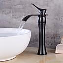 billiga Tvättställsblandare-samtida centralset keramikventil enda handtag ett hål oljebeständigt bronsmålning svart, badrumsvattenkranar badkranar
