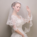 ราคาถูก ตุ้มหู-ชั้นเดียว รูปแบบดอกไม้ / ตาข่าย / ชุดเดรสเปลี่ยนสไตล์ได้ ผ้าคลุมหน้าชุดแต่งงาน ผ้าคลุมศรีษะสำหรับชุดแต่งงาน กับ ตะเข็บ / Splicing POLY / Tulle / Oval