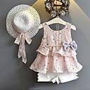 billige Babykjoler-Baby Jente Gatemote Daglig Ut på byen Blomstret Printer Ermeløs Normal Tøysett Rosa