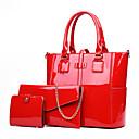 baratos Conjunto de Bolsas-Mulheres Ziper Couro Envernizado Conjuntos de saco Conjuntos de sacolas 3 Pcs Purse Set Preto / Vermelho / Roxo