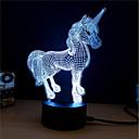 זול אורות 3D הלילה-1set Unicorn אור תלת ממדי שנה DC מופעל / USB החלפת צבעים / יצירתי / קישוט 5 V