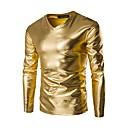 billiga Zentai-Enfärgad Bomull T-shirt - Grundläggande Herr V-hals Smal Guld / Långärmad