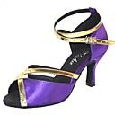 povoljno Cipele za latino plesove-Žene Plesne cipele Saten Cipele za latino plesove Sandale Potpetica po mjeri Moguće personalizirati Crn / purpurna boja / Mornarsko plava / Unutrašnji