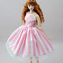 billige Dukketilbehør-Dukkekjole Kjoler Til Barbie Stripet Blek Rosa Polyester / Bomull Blonde Lin / Polyester Blanding Kjole Til Jentas Dukke