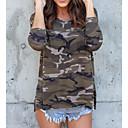 Χαμηλού Κόστους Ρούχα για σκύλους-Γυναικεία T-shirt Κομψό στυλ street καμουφλάζ Πράσινο του τριφυλλιού / Άνοιξη / Καλοκαίρι