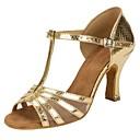povoljno Cipele za latino plesove-Žene Plesne cipele Eko koža / Til Cipele za latino plesove Isprepleteni dijelovi Sandale / Štikle Potpetica po mjeri Moguće personalizirati Zlato / Profesionalac