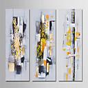 billige Vegglamper-Hang malte oljemaleri Håndmalte - Abstrakt Moderne Inkluder indre ramme / Tre Paneler / Stretched Canvas