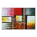 billige Baderomskraner-Hang malte oljemaleri Håndmalte - Abstrakt Moderne Inkluder indre ramme / Tre Paneler / Stretched Canvas
