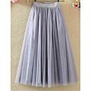 Χαμηλού Κόστους Αφηρημένοι Πίνακες-Γυναικεία Γραμμή Α Τούτους Εξόδου Φούστες - Μονόχρωμο Δίχτυ Λευκό Μαύρο Γκρίζο M L XL