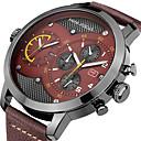 ราคาถูก นาฬิกากีฬา-สำหรับผู้ชาย นาฬิกาตกแต่งข้อมือ ที่มีขนาดใหญ่ หนังแท้ ดำ / ฟ้า / น้ำตาล 30 m โครโนกราฟ เท่ห์ Punk ระบบอนาล็อก ความหรูหรา คลาสสิก - สีดำ กาแฟ สีฟ้า / สีดำ สองปี อายุการใช้งานแบตเตอรี่