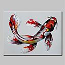 Χαμηλού Κόστους Πίνακες με Ζώα-Hang-ζωγραφισμένα ελαιογραφία Ζωγραφισμένα στο χέρι - Αφηρημένο Κινούμενα σχέδια Μοντέρνα Περιλαμβάνει εσωτερικό πλαίσιο / Επενδυμένο καμβά