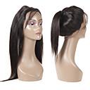 billige En pakke med hår-Guanyuwigs Brasiliansk hår 360 Frontal Rett Sveitsisk blonde Remy Menneskehår Dame Myk / Silkete Fest / Hverdag / Dagligdagstøy / Svart