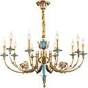 billiga Lyktdesign-ZHISHU 10-Light Candle-stil Ljuskronor Xelogen & Krypton Mässing Metall Kristall, Ministil 110-120V / 220-240V Glödlampa inkluderad