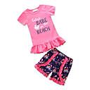 Χαμηλού Κόστους Σετ ρούχων για κορίτσια-Νήπιο Κοριτσίστικα Ενεργό Καθημερινά Εξόδου Γεωμετρικό Στάμπα Patchwork Με κοψίματα Σουρωτά Φούντα Κοντομάνικο Κανονικό Κανονικό Βαμβάκι Σετ Ρούχων Μαύρο / Χαριτωμένο