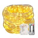 זול חוט נורות לד-8 מצבים 10 m 33ft 100 אורות מחרוזת פיות עם שליטת טיימר מרחוק סוללה מופעל אורות נצנצים חוט נחושת עמיד למים צבעוניים למסיבת חתונת גן קישוט קיר עץ