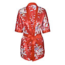 billige Høyhælte damesko-Dame Skjørt - Blomstret Trykt mønster Rød En Størrelse / Dyp V / Uniformer og kinesiske kjoler / Dress / Sexy