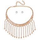 billiga Modehalsband-Dam Smycken Set Dubb Örhängen Harness halsband damer Klassisk Mode örhängen Smycken Guld / Silver Till Ceremoni Kvällsfest