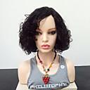 billige Blondeparykker med menneskehår-Syntetiske parykker Krøllet Side del Parykk Medium Lengde Jet Svart Syntetisk hår 14 tommers Dame Varme resistent Svart