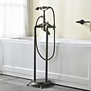 Χαμηλού Κόστους Βρύσες Ντουζιέρας-Βρύση Μπανιέρας - Πεπαλαιωμένο Πεπαλαιωμένος Χαλκός Εγκατεστημένη στο Πάτωμα Κεραμική Βαλβίδα Bath Shower Mixer Taps / Δύο λαβές δύο τρύπες