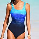 Χαμηλού Κόστους στολές κατάδυσης και αδιάβροχες μπλούζες-Γυναικεία Βασικό Στράπλες Θαλασσί Ρουμπίνι Bandeau Προκλητικό Ένα κομμάτι Μαγιό - Συνδυασμός Χρωμάτων L XL XXL Θαλασσί