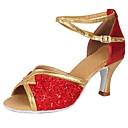 ราคาถูก รองเท้าแบบลาติน-สำหรับผู้หญิง รองเท้าเต้นรำ เลื่อม / Paillette / หนังเทียม ลาติน เลื่อม / หัวเข็มขัด ส้น ส้นCuban ตัดเฉพาะได้ แดง