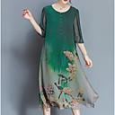 ราคาถูก ชุดนอน Kigurumi-สำหรับผู้หญิง ขนาดพิเศษ Chinoiserie หลวม ชีฟอง แต่งตัว - ลายพิมพ์, ต้นไม้ / ใบไม้ midi / ลายดอกไม้