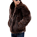 cheap Wedding Wraps-Men's Daily / Weekend Classical Winter Regular Coat, Solid Colored Shirt Collar Long Sleeve Faux Fur White / Black / Brown