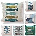 baratos Oferta-6 pçs Téxtil Algodão / Linho Fronha, Geométrica Simples Estampado Arte Deco / Retro