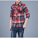 Χαμηλού Κόστους Μπλουζάκια για αγόρια-Παιδιά Αγορίστικα Βασικό Καθημερινά Καρό Μακρυμάνικο Βαμβάκι Πουκάμισο Πράσινο του τριφυλλιού