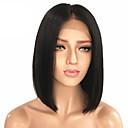 Недорогие Парики из натуральных волос на кружевной основе-человеческие волосы Remy Необработанные натуральные волосы Лента спереди Парик Стрижка боб Средняя часть Kardashian стиль Малазийские волосы Прямой Черный Парик 130% Плотность волос / Отбеленные узлы