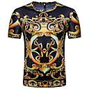 billige T-skjorter og singleter til herrer-Rund hals T-skjorte Herre - Tribal, Trykt mønster Vintage / Grunnleggende Svart / Kortermet