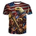 billige T-skjorter og singleter til herrer-Bomull Rund hals Store størrelser T-skjorte Herre - Dyr Grunnleggende Regnbue / Kortermet / Lang