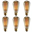 ราคาถูก หลอดไฟแบบไส้-brelong 6 ชิ้น e27 40w st64 dimmable edison ตกแต่งหลอดไฟอบอุ่นสีขาว