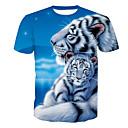 billige Sofa Trekk-Rund hals T-skjorte Herre - Dyr, Trykt mønster Aktiv Tiger Blå / Kortermet / Sommer