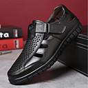 povoljno Muške sandale-Muškarci Udobne cipele Koža Ljeto Sandale Crn / Braon / Vanjski / EU42