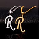 billige Mote Halskjede-Herre Kubisk Zirkonium Anheng Halskjede Monogram Alfabet Formet Bokstaver Mote Hip Hop Kobber Gull Sølv 55 cm Halskjeder Smykker Til Gave Daglig