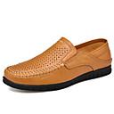 ราคาถูก รองเท้าแตะผู้ชาย-สำหรับผู้ชาย รองเท้าหนัง หนัง ฤดูใบไม้ผลิ / ฤดูร้อน ธุรกิจ / ไม่เป็นทางการ รองเท้าส้นเตี้ยทำมาจากหนังและรองเท้าสวมแบบไม่มีเชือก ระบายอากาศ สีดำ / สีน้ำตาล