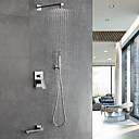 billige Abstrakte malerier-Dusjkran - Moderne Krom Vægmonteret Keramisk Ventil Bath Shower Mixer Taps / Messing / Enkelt håndtak fire hull