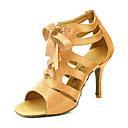 ราคาถูก ชุดเต้น Ballroom-สำหรับผู้หญิง รองเท้าเต้นรำ ซาติน บอลล์รูม / Salsa หัวเข็มขัด รองเท้าแตะ ตัดเฉพาะได้ เหลือง / สีบานเย็น / ม่วง / EU42