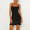 Χαμηλού Κόστους Κιλότες-Γυναικεία Εξόδου Βασικό Κομψό στυλ street Λεπτό Θήκη Φόρεμα - Μονόχρωμο, Με Βολάν Μίνι Ψηλή Μέση Τιράντες Μαύρο & Κόκκινο / Sexy