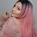 Χαμηλού Κόστους Συνθετικές περούκες με δαντέλα-Συνθετικές μπροστινές περούκες δαντέλας Ίσιο Kardashian Στυλ Μέσο μέρος Δαντέλα Μπροστά Περούκα Ροζ Συνθετικά μαλλιά Γυναικεία Ανθεκτικό στη Ζέστη / Πάρτι / Γυναικεία Ροζ Περούκα Μακρύ 150