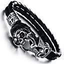 billiga Modearmband-Kubisk Zirkoniumoxid Armringar Läder Armband geometriska Döskalle Vintage Läder Armband Smycken Svart Till Gåva Dagligen
