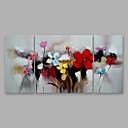 Χαμηλού Κόστους Πίνακες με Λουλούδια/Φυτά-Hang-ζωγραφισμένα ελαιογραφία Ζωγραφισμένα στο χέρι - Άνθινο / Βοτανικό Μοντέρνα Περιλαμβάνει εσωτερικό πλαίσιο / Τρίπτυχα / Επενδυμένο καμβά