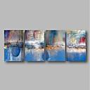 voordelige Abstracte schilderijen-Hang-geschilderd olieverfschilderij Handgeschilderde - Abstract Hedendaags Inclusief Inner Frame / Vier panelen / Uitgerekt canvas