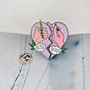 billiga Hårsmycken-Broscher geometriska Brustet hjärta Alphabet Form Hjärta damer Vintage Tecknat Mode Brosch Smycken Rosa / Lila Till Dagligen Kvällsfest