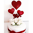baratos Decorações de Bolo-Decorações de Bolo Tema Flores / Romance / Casamento Estiloso / Heart Shape Papel Casamento / Aniversário com Coração 7pcs PPO