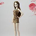 billiga Drinkware Tillbehör-Dollklänning Klänningar För Barbie Mode Kaffe Elastisk satin Spets Bommulstyg Klänning För Flicka Dockleksak
