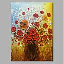 billige Blomster-/botaniske malerier-Hang malte oljemaleri Håndmalte - Still Life Blomstret / Botanisk Moderne Inkluder indre ramme / Stretched Canvas