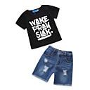 Χαμηλού Κόστους Σετ ρούχων για αγόρια-Νήπιο Αγορίστικα Βίντατζ Βασικό Καθημερινά Αργίες Ασπρόμαυρο Στάμπα Τρύπα Ripped Στάμπα Κοντομάνικο Κανονικό Κανονικό Βαμβάκι Σετ Ρούχων Μαύρο