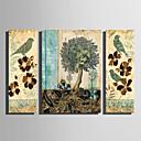 זול הדפסים-דפוס הדפסי בד מגולגל - חיות פרחוני / בוטני מודרני שלושה פנלים הדפסים אמנותיים